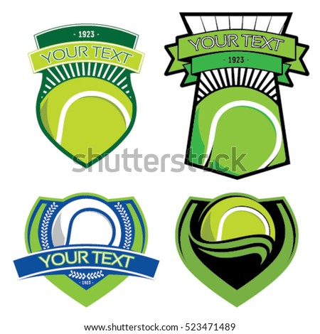 Tennis emblems on isolated background