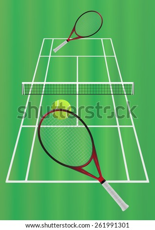 Tennis game on the grass court - imaginary game between two players
