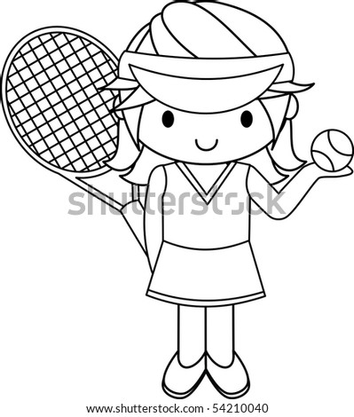 Tennis Girl - stock vector