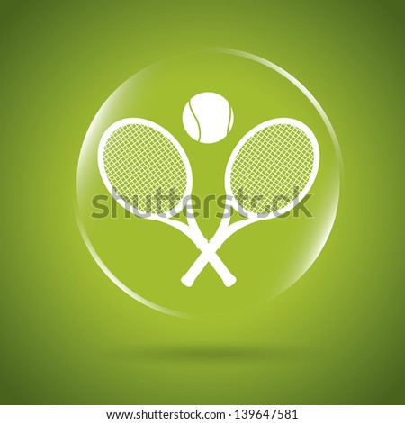 tennis icon bubble over green background vector illustration - stock vector