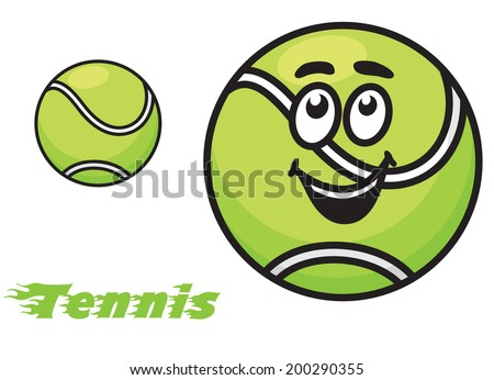Tennis icon or emblem logo with a cheerful green tennis ball with a happy smile and the text - Tennis - with motion trails