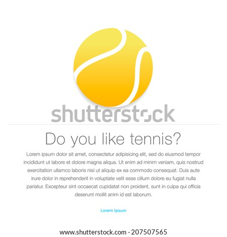 Tennis icon. Yellow tennis ball, vector illustration. - stock vector
