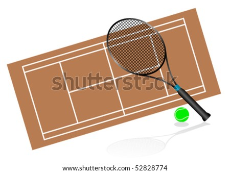 Tennis illustration with rackets and court