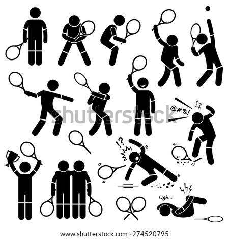 Tennis Player Actions Poses Postures Stick Figure Pictogram Icons - stock vector