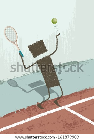 Tennis player. An executive playing tennis. EPS8 Illustration. - stock vector