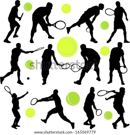 tennis player collection - vector 6 - stock vector