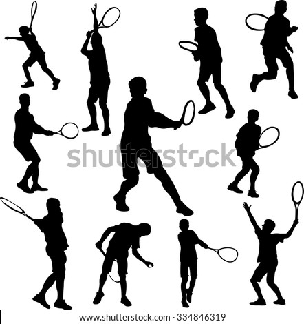 tennis player collection 1 - vector