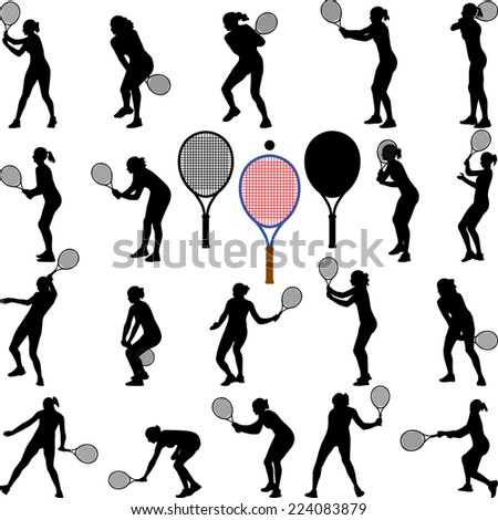 tennis player girl - stock vector