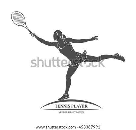 tennis player, silhouette - stock vector