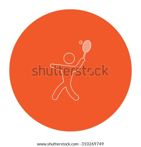Tennis player, silhouette. Flat outline white pictogram in the orange circle. Vector illustration icon - stock vector
