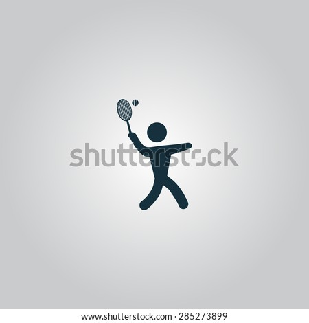 Tennis player, silhouette. Flat web icon or sign isolated on grey background. Collection modern trend concept design style vector illustration symbol - stock vector