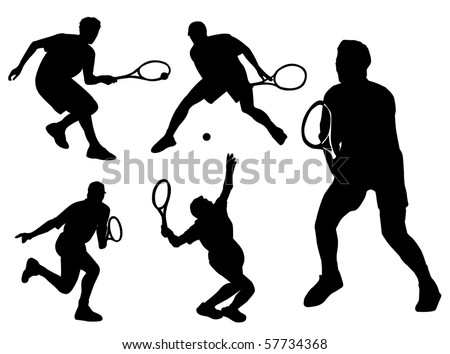 Tennis player silhouette in different poses and attitudes