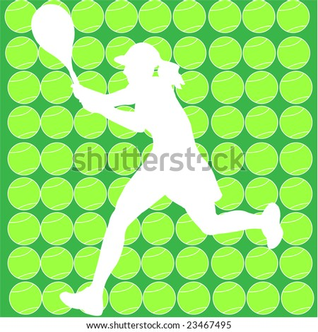 tennis player with halftone background - vector - stock vector