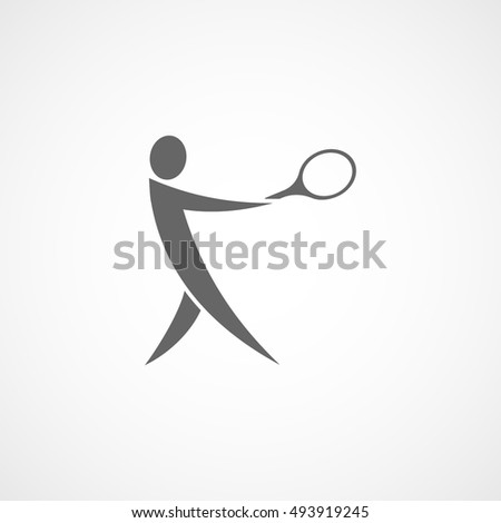 Tennis Player With Racquet Flat Icon On White Background