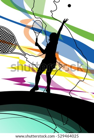 Tennis players active sport silhouettes vector abstract background illustration