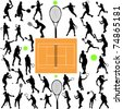 tennis players big collection - vector - stock vector