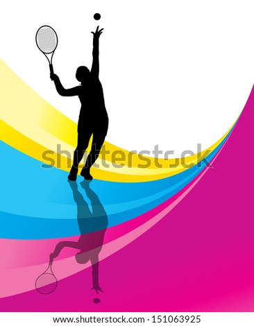 Tennis players detailed silhouettes vector background concept illustration - stock vector