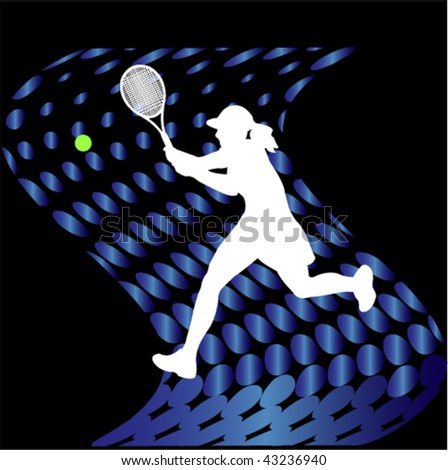 tennis players on abstract halftone background - vector - stock vector