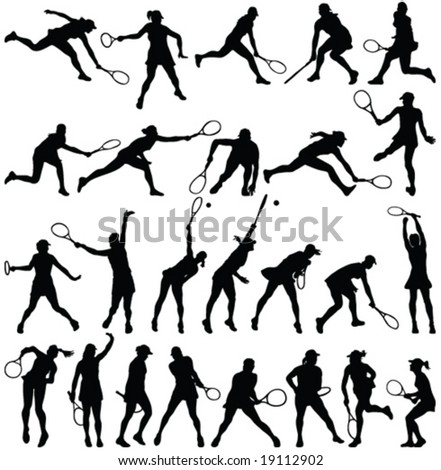 tennis players silhouette collection - vector