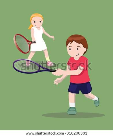 Tennis Pose Cartoon Vector Illustration 4 - stock vector