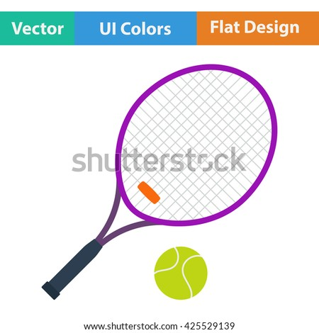 Tennis racket and ball icon.Vector illustration