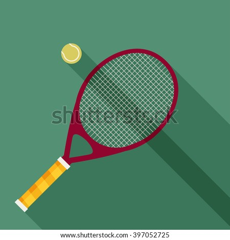 tennis racket and ball icon with long shadow. flat style vector illustration