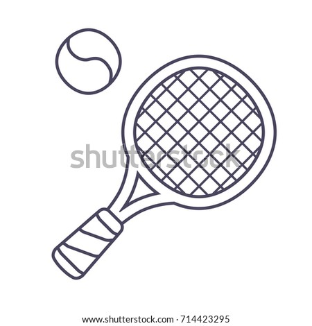 Tennis racket and ball line icon