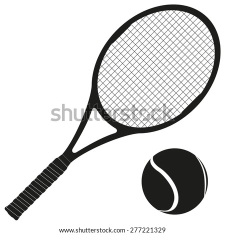 Tennis racket and ball. Vector illustration isolated on white background - stock vector