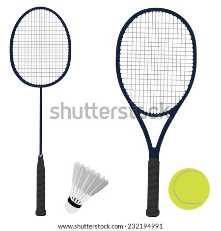 Tennis racket, badminton racket, shuttlecock, tennis ball, sport equipment - stock vector