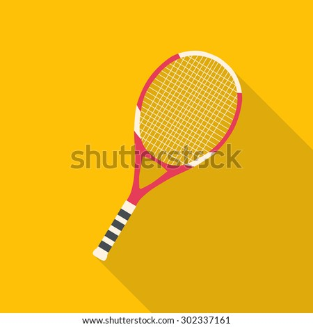 Tennis racket flat design with long shadow - stock vector