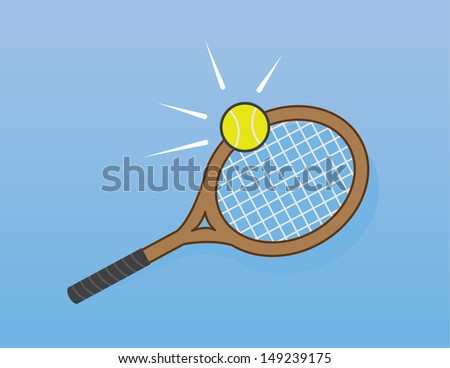 Tennis racket hitting tennis ball  - stock vector