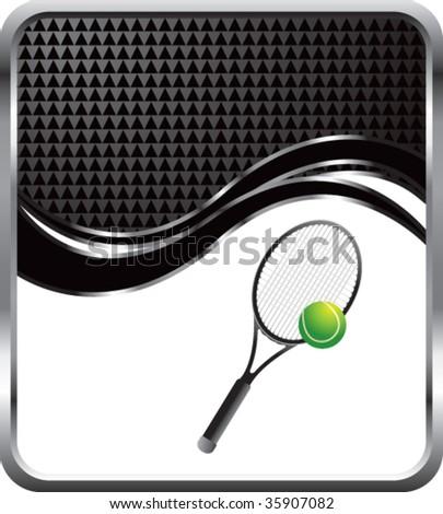 tennis racket on black checkered wave backdrop - stock vector
