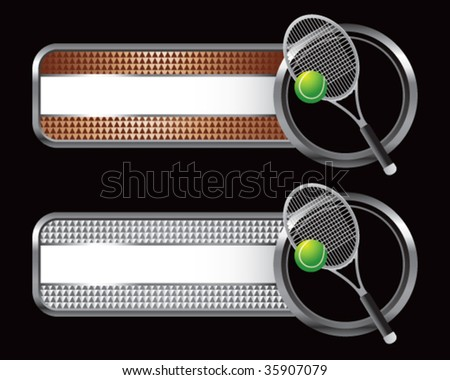 tennis racket on specialized banners - stock vector