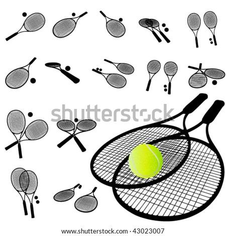 Tennis Racket silhouette set - stock vector