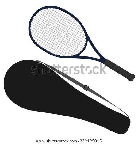 Tennis racket, sport equipment, racket cover - stock vector