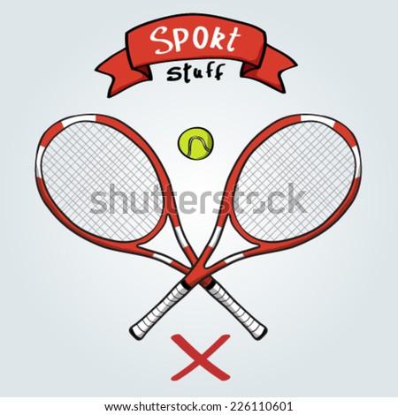Tennis racket. Sport stuff. - stock vector