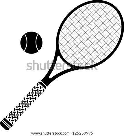 tennis racket. stencil. vector illustration - stock vector