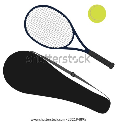 Tennis racket, tennis ball, sport equipment, racket cover - stock vector