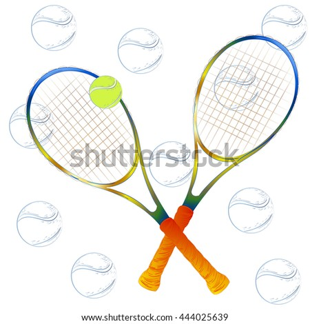 tennis racket with a tennis ball on a white background