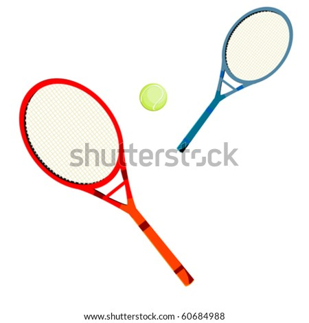 Tennis rackets and ball over white background
