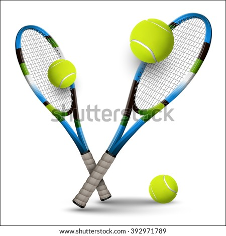 Tennis rackets and balls isolated on white background. Vector design elements. - stock vector
