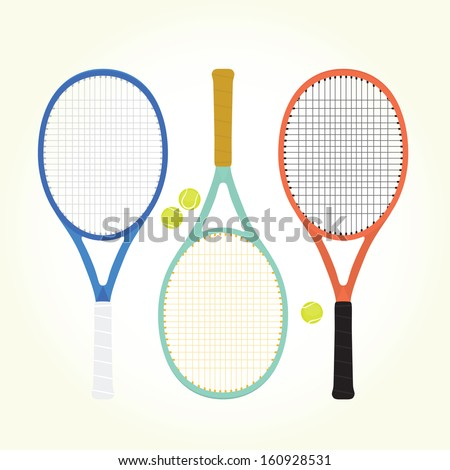 Tennis rackets and balls isolated vector - stock vector