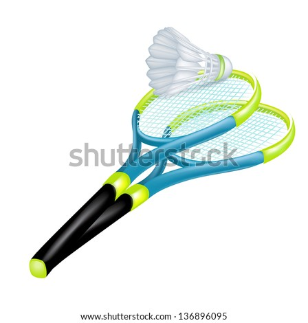 tennis rackets and shuttle isolated on white