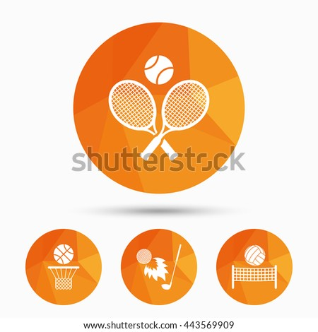 Tennis rackets with ball. Basketball basket. Volleyball net with ball. Golf fireball sign. Sport icons. Triangular low poly buttons with shadow. Vector - stock vector