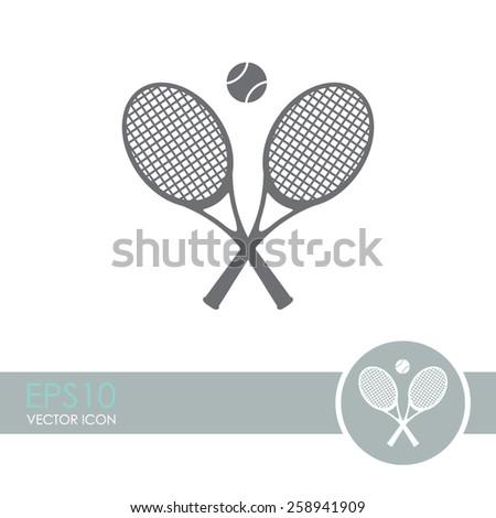 Tennis rackets with ball vector icon. - stock vector