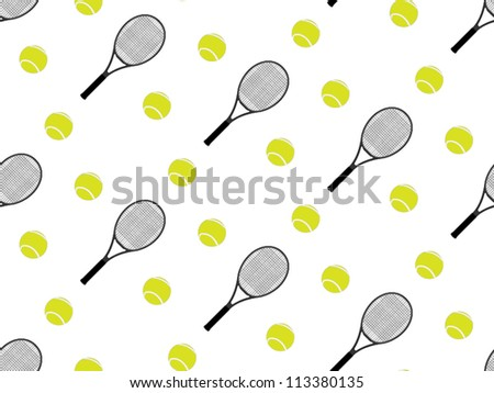 Tennis Raquet and Ball Background Seamless Pattern 2 - stock vector