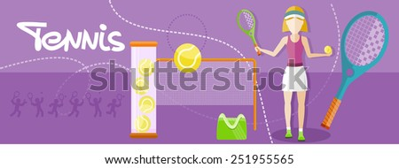 Tennis sport concept with item icons. Portrait of sporty girl tennis player with racket in flat design style - stock vector