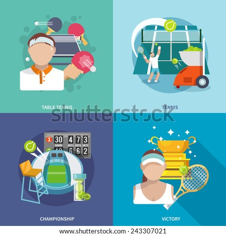 Tennis sport game flat icons set with table championship victory isolated vector illustration - stock vector