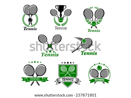 Tennis sporting emblems, banners or logo designs for sport club and tournament with rackets, balls, ribbon banners, trophy cup framed in laurel wreath, stars or shield - stock vector
