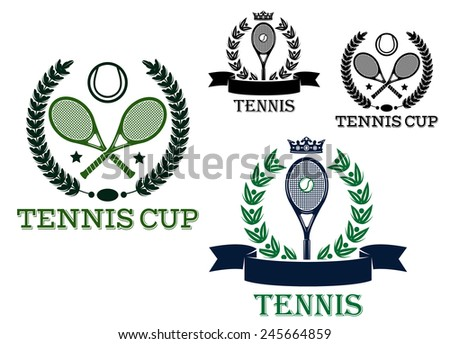 Tennis tournament emblems and logo with rackets and balls framed laurel wreath, ribbon banners, stars and crowns for sporting competition design - stock vector
